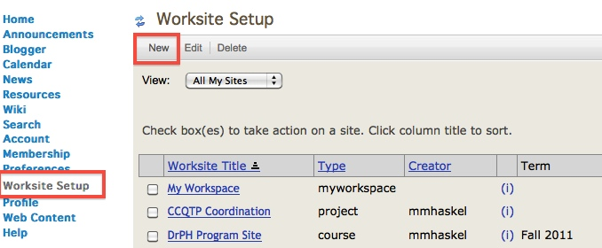 Screenshot of Worksite Setup.