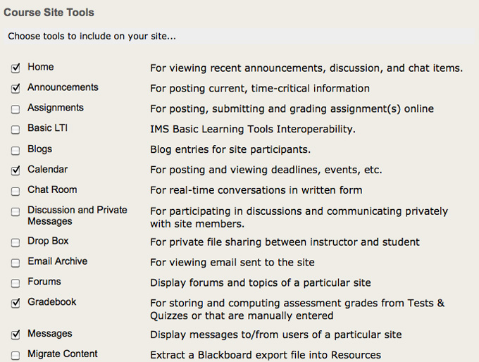 Screenshot of Course Site Tools.