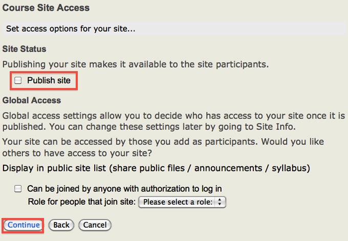 Screenshot of Course Site Access.