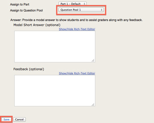 Screenshot of assign to question pool.