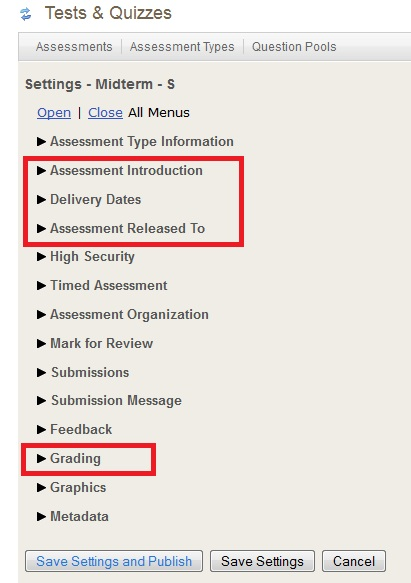 Screenshot of Tests & Quizzes settings.