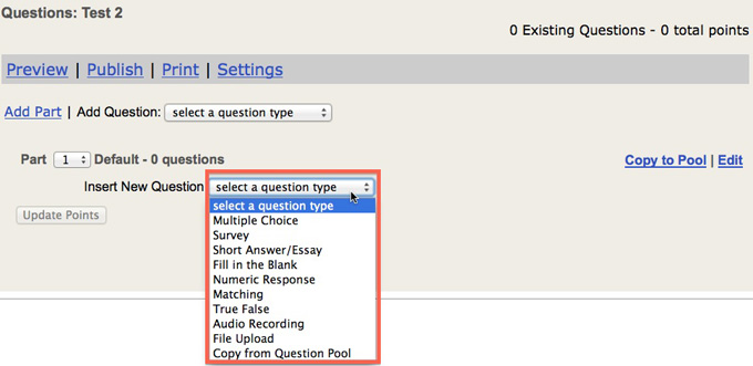 Screenshot of new question type options.