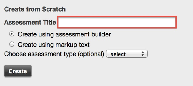 Screenshot of create new assessment.